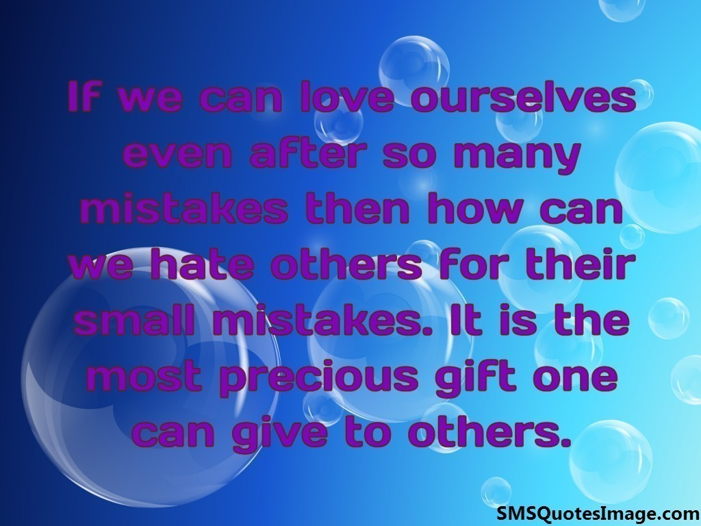 If we can love ourselves