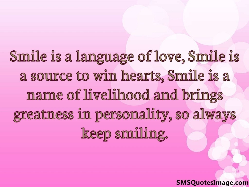 smile is a language of love wise sms quotes image
