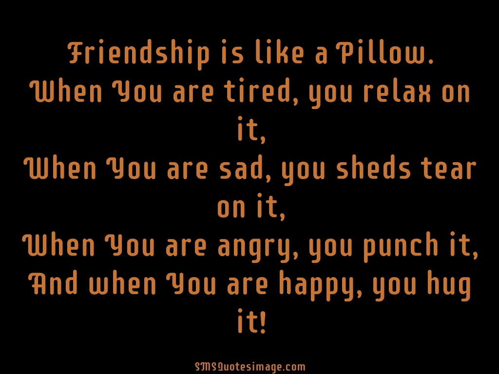 A Quote About Friendship Friendship Is Like A Pillow  Friendship  Sms Quotes Image