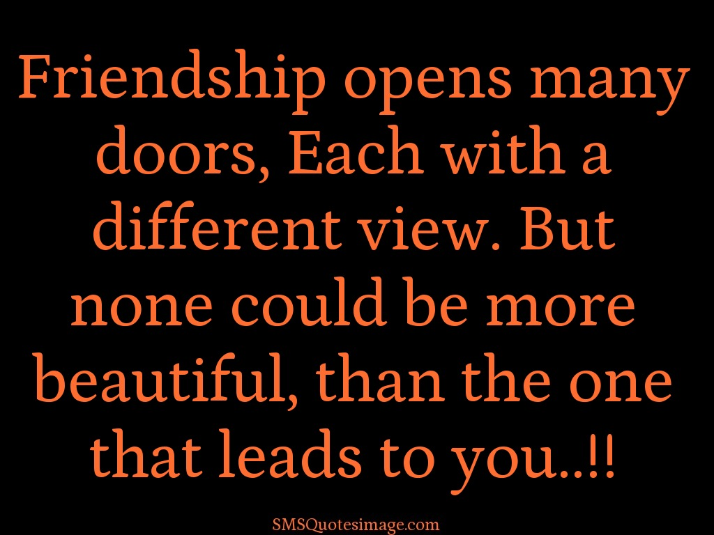 Friendship Friendship opens many doors