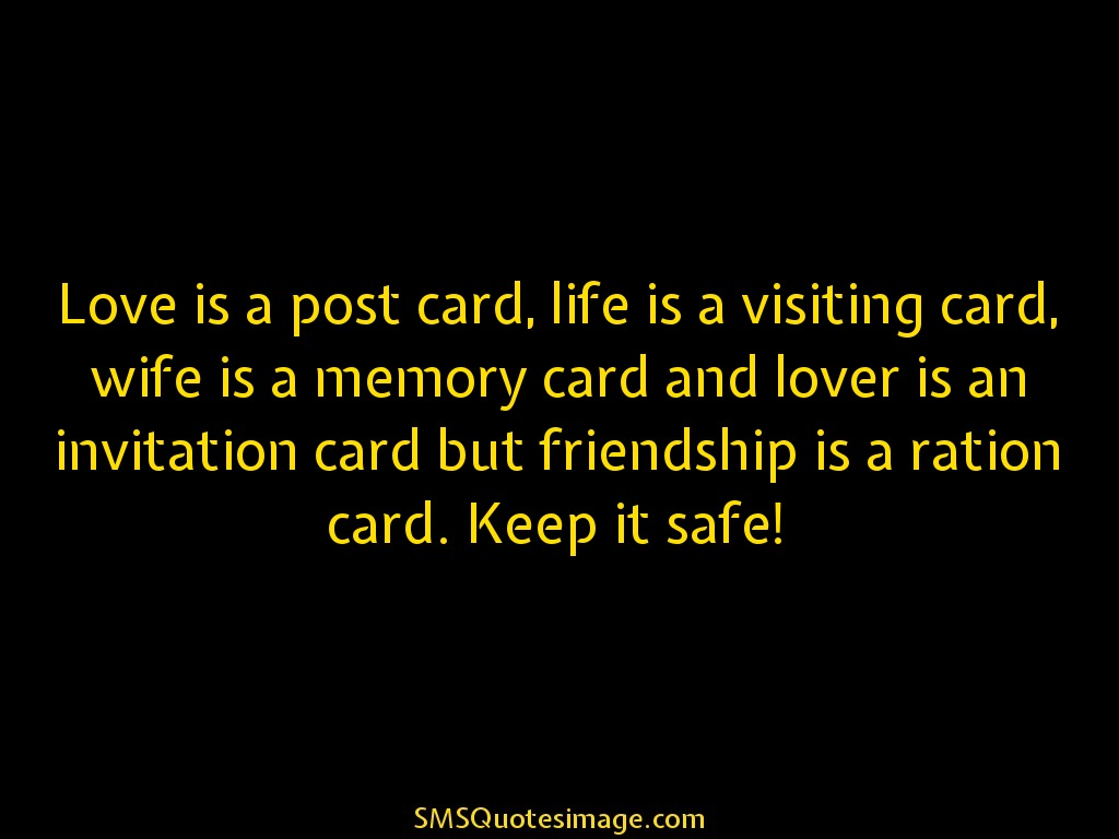 Friendship Love is a post card