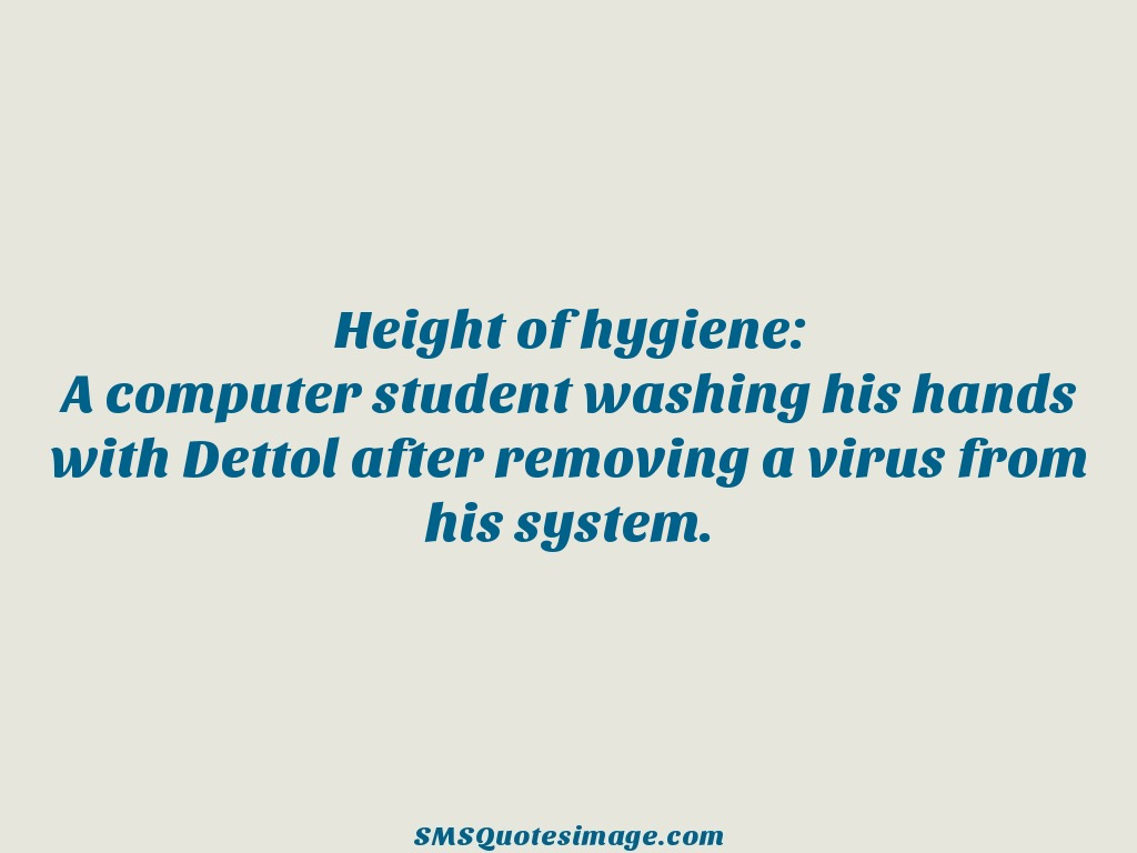 Funny A computer student washing