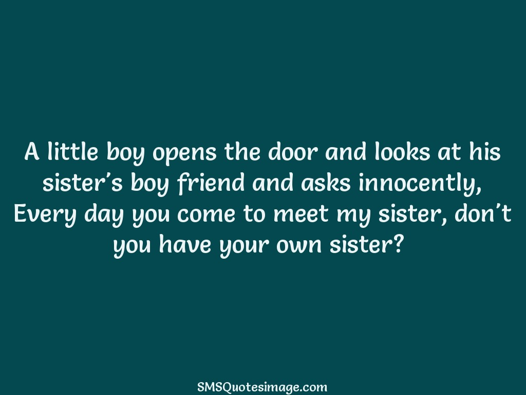 Funny A little boy opens the door