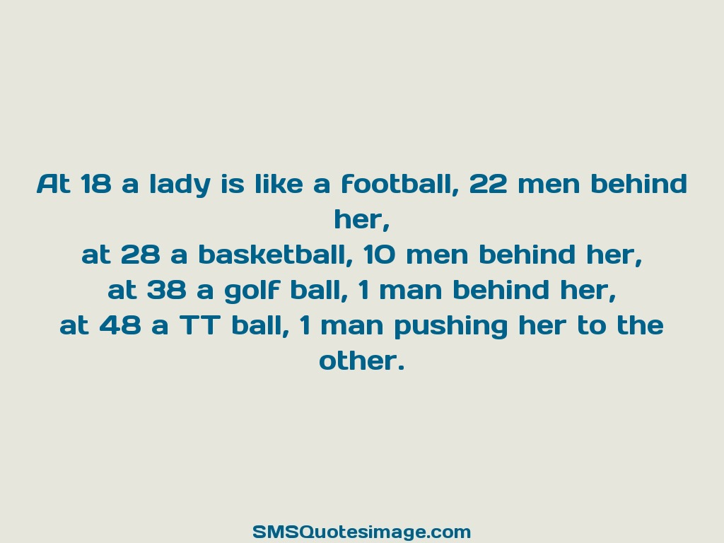 Funny At 18 a lady is like a football