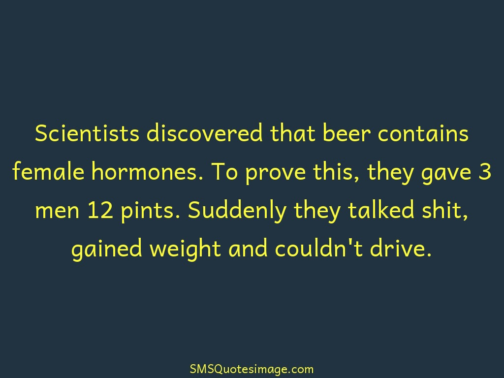 Funny Beer contains female hormones