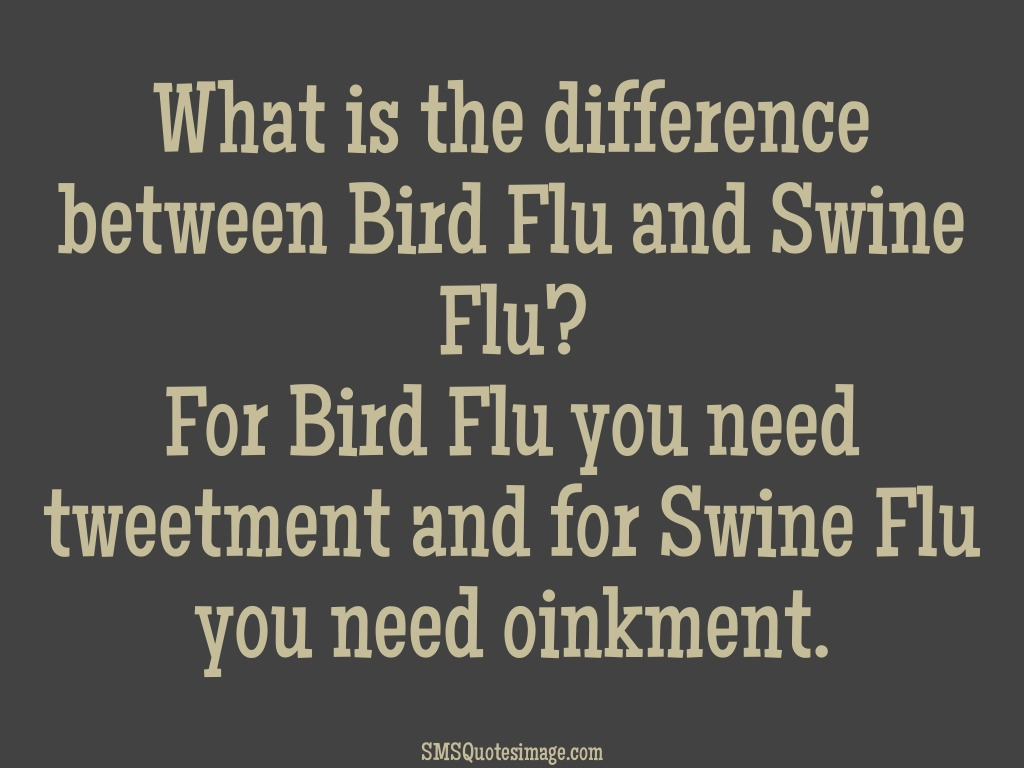 Funny Difference between Bird Flu and Swine Flu