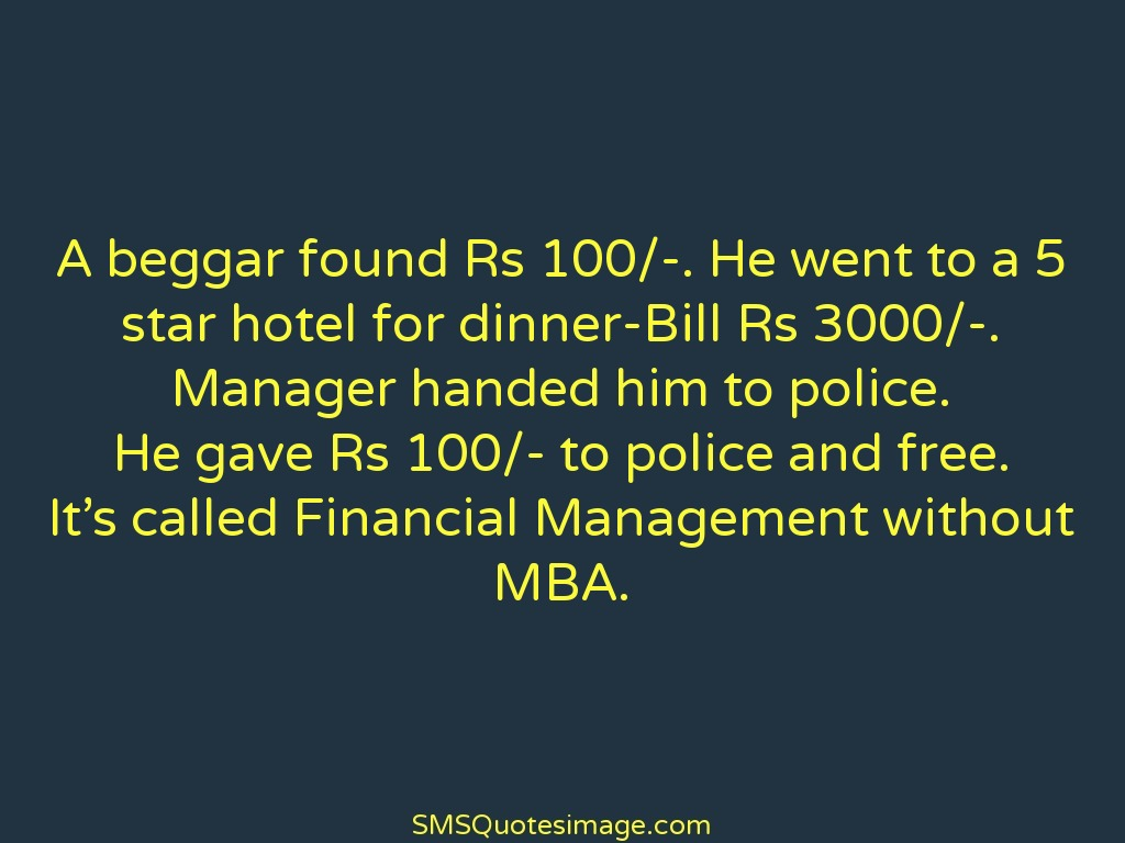 Financial Quotes Financial Management Without Mba  Funny  Sms Quotes Image