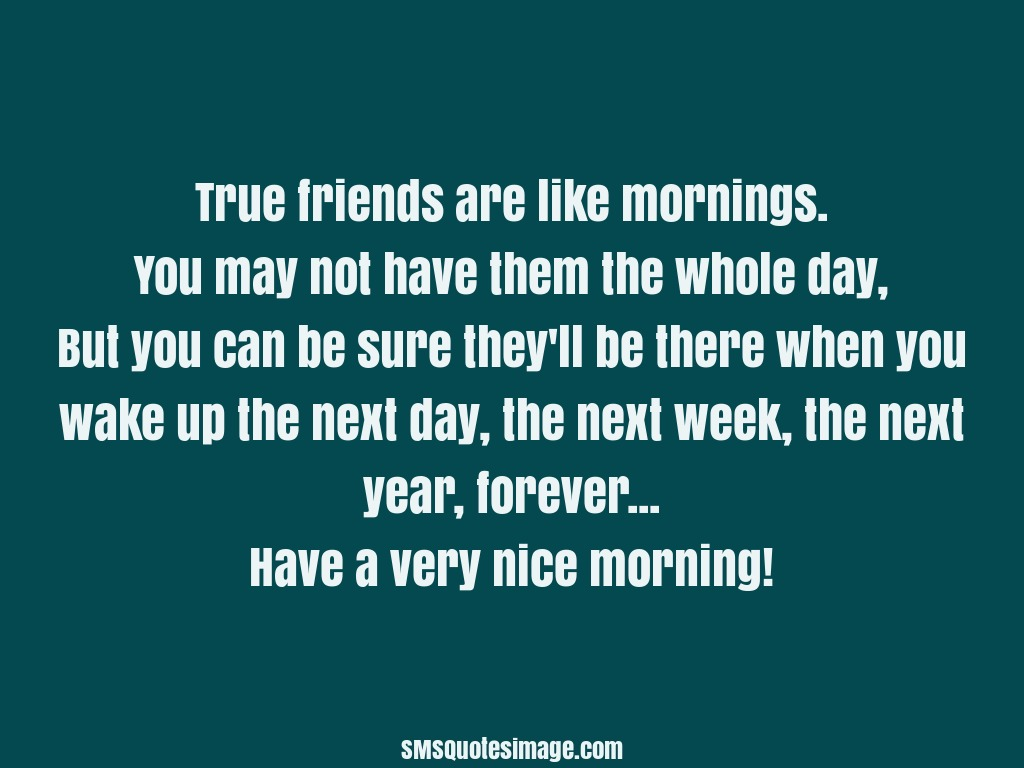 Good Morning True friends are like mornings