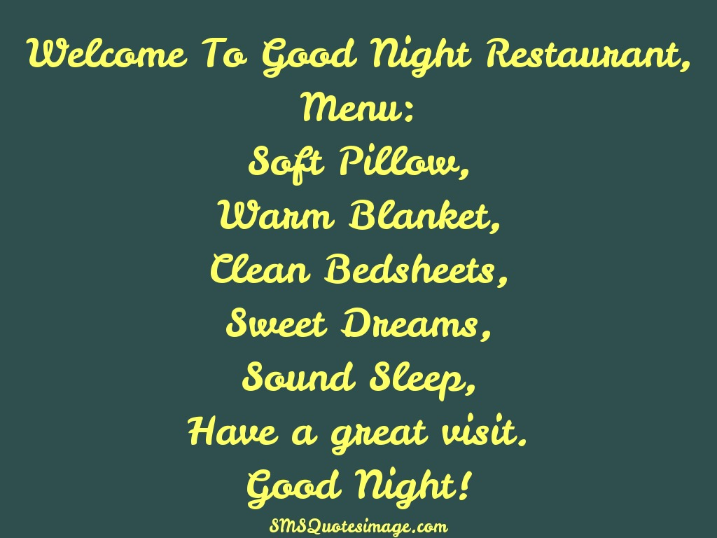 Soft Quotes Good Night Restaurant  Good Night  Sms Quotes Image