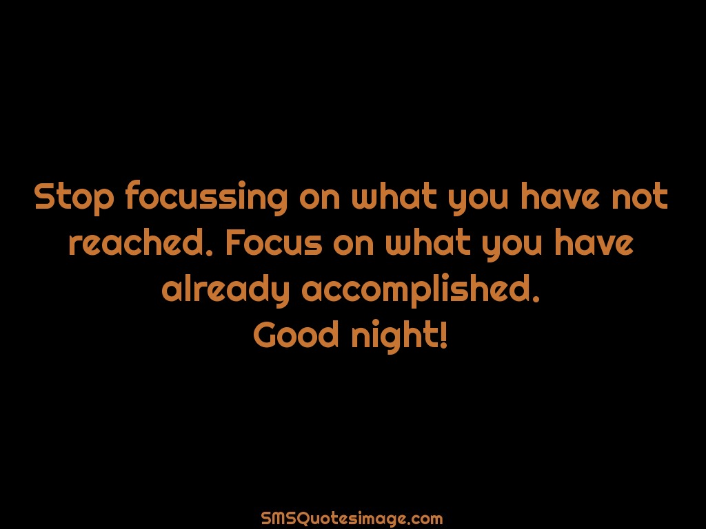 Good Night Stop focussing on what