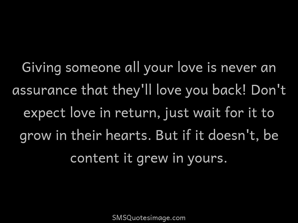 Love Don't expect love in return