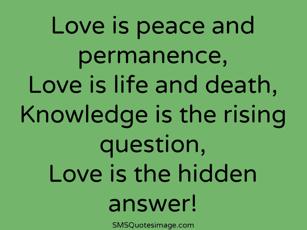Love And Peace Quotes Love Is Peace And Permanence  Love  Sms Quotes Image