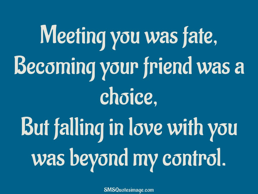 Love Meeting you was fate
