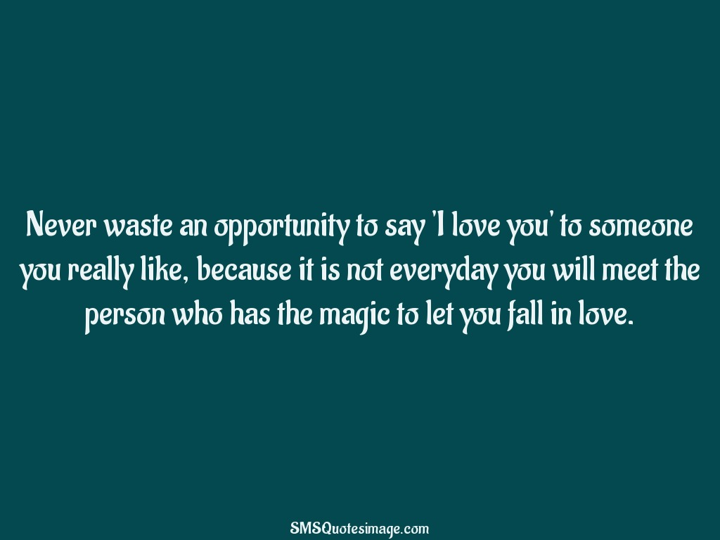 Love Never waste an opportunity