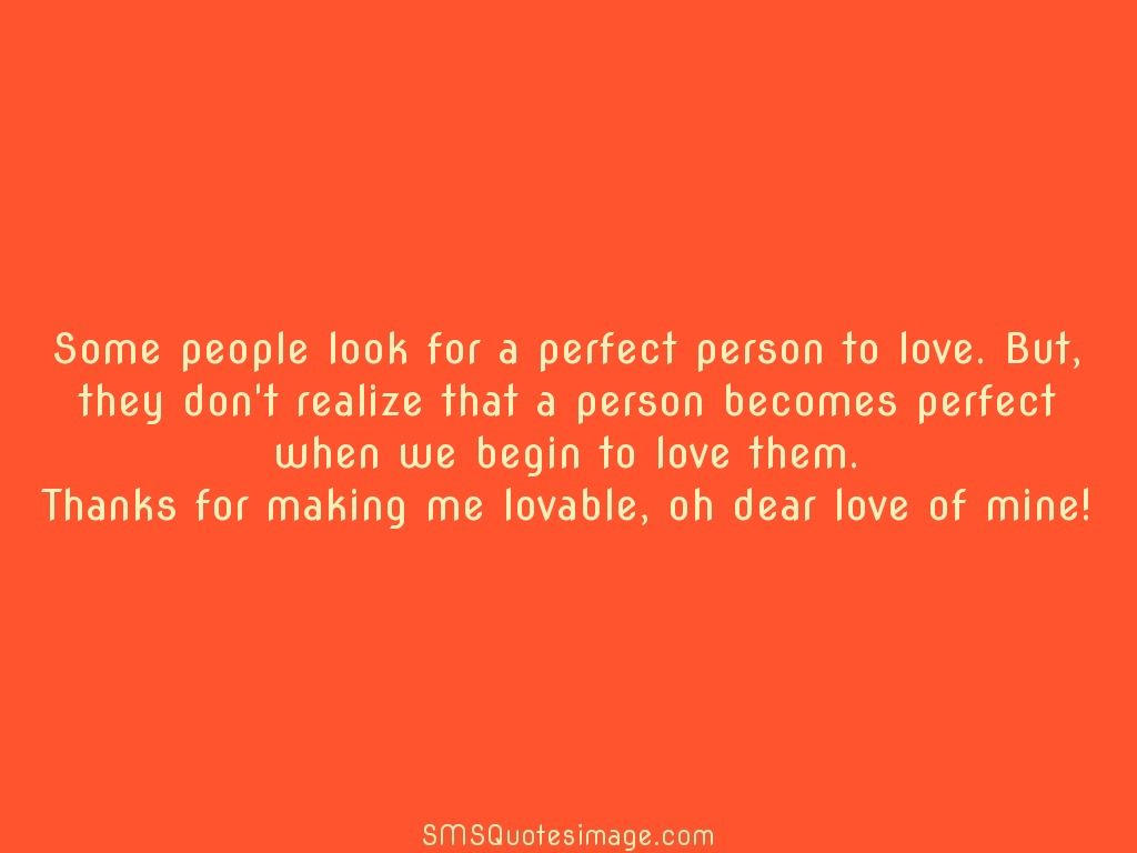 Love Person becomes perfect when