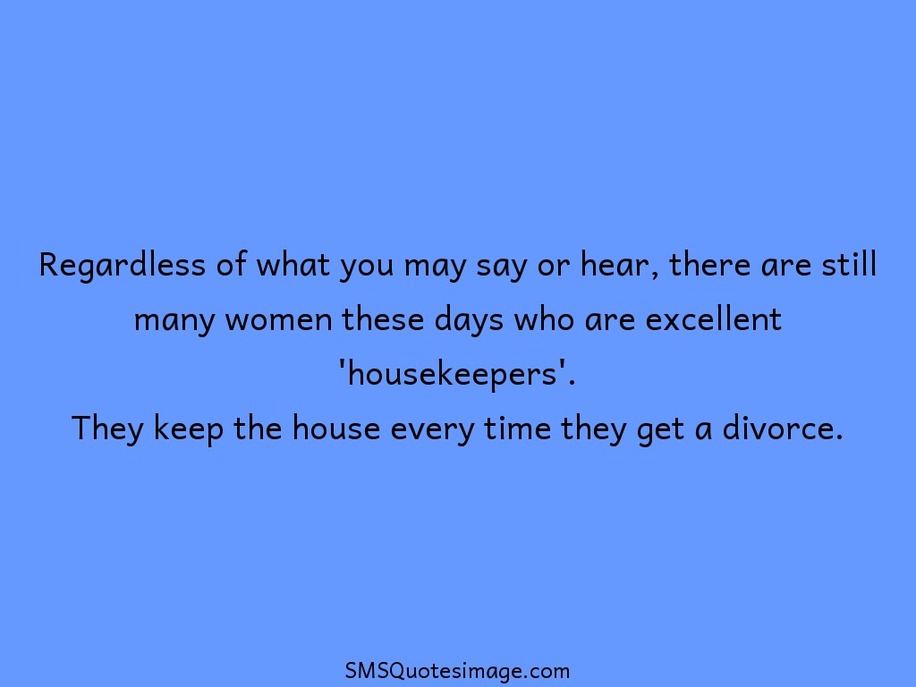 Marriage Excellent 'housekeepers'