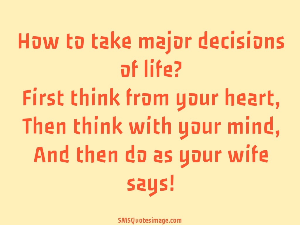 Marriage How to take major decisions