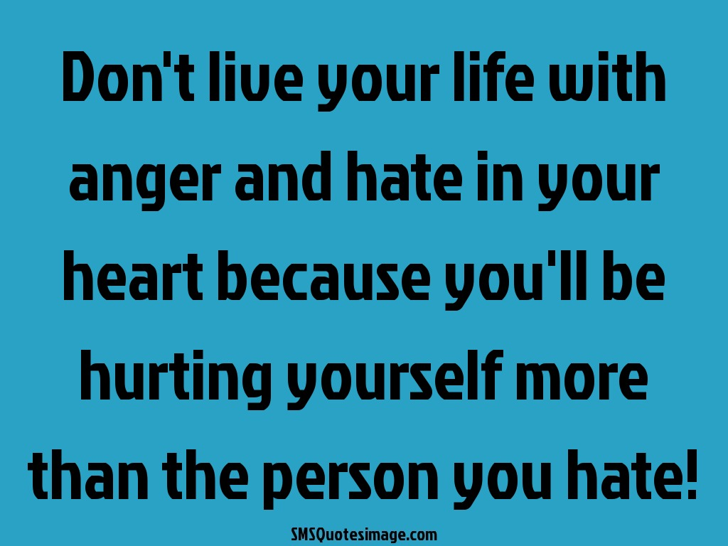 Quotes To Live Your Life By Don't Live Your Life With Anger  Wise  Sms Quotes Image