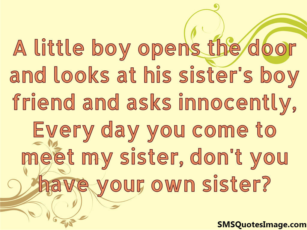 A little boy opens the door