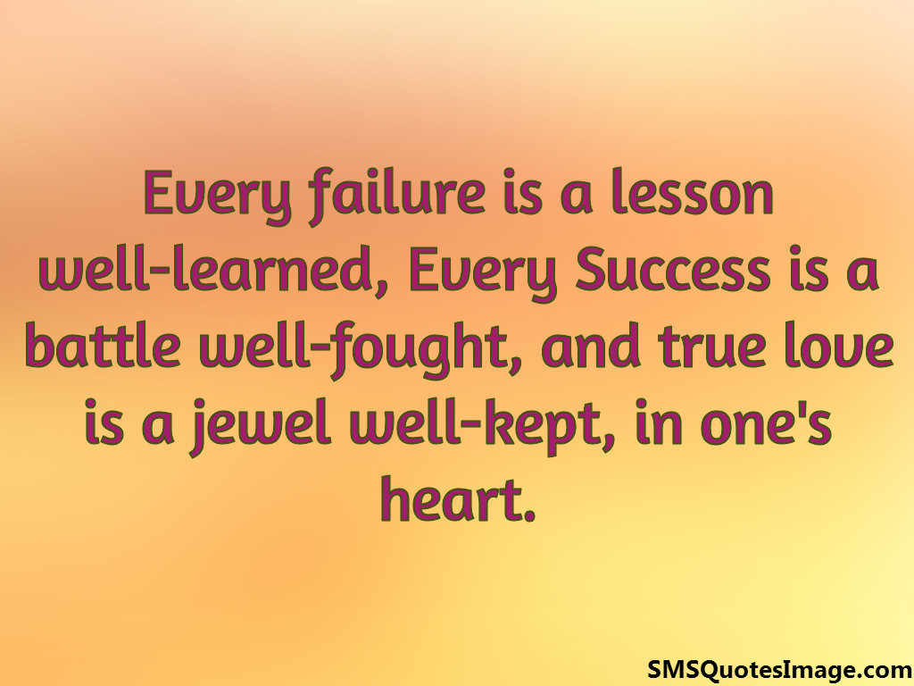 Every failure is a lesson