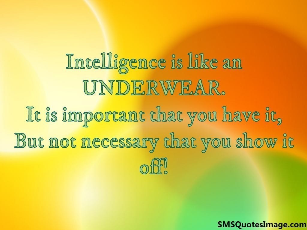 Intelligence is like an UNDERWEAR