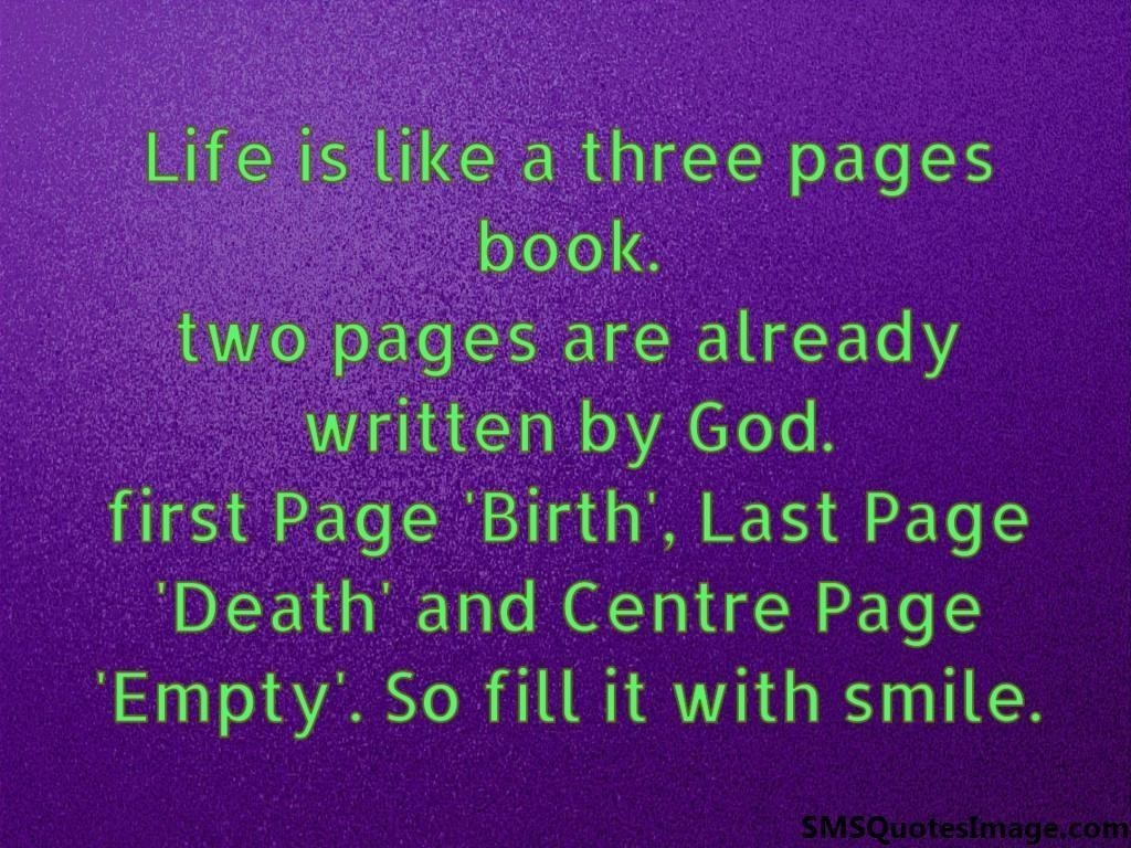 Life Quotes Books Life Is Like A Three Pages Book  Wise  Sms Quotes Image