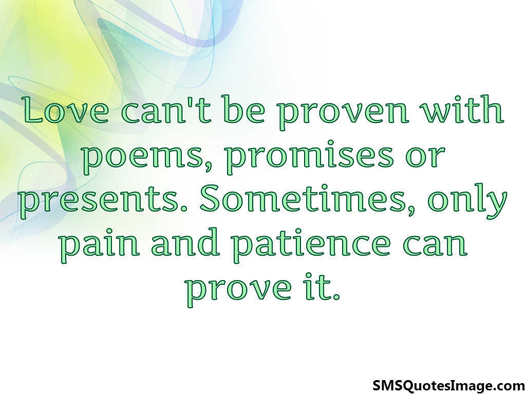 Love can't be proven with poems
