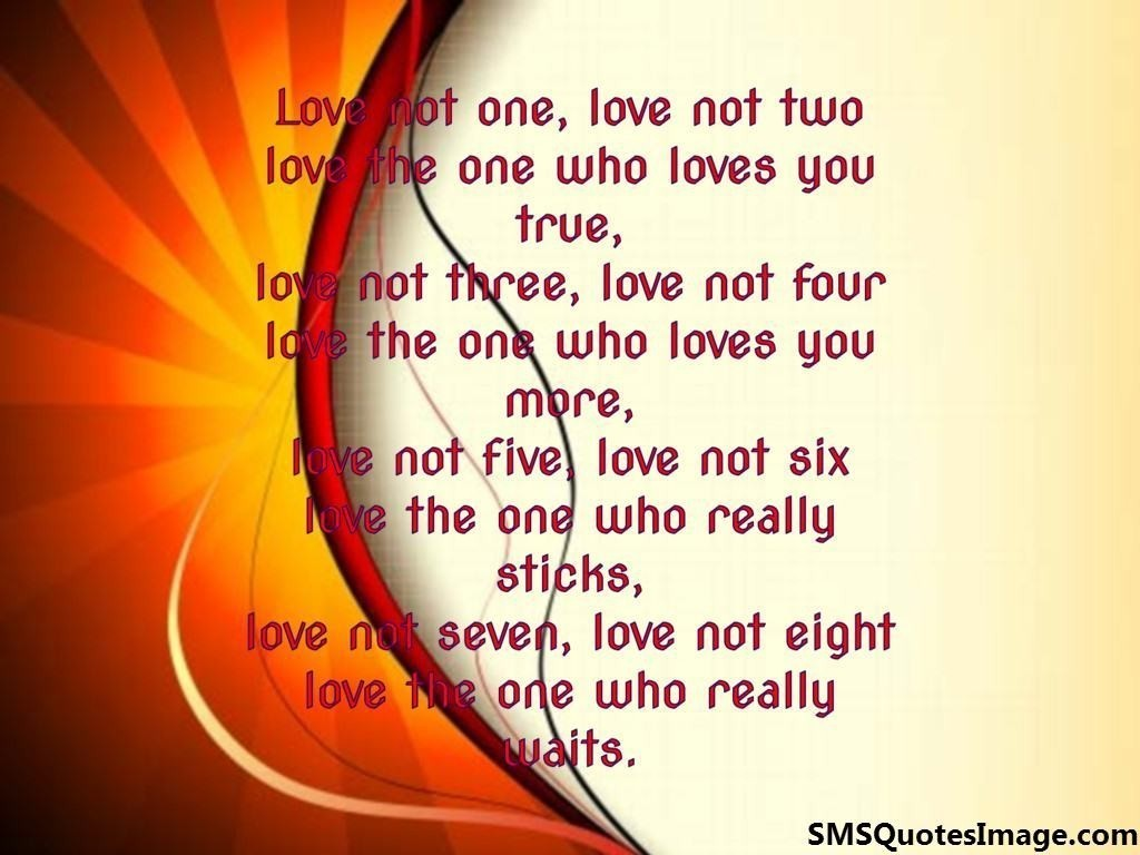 Love not one love not two