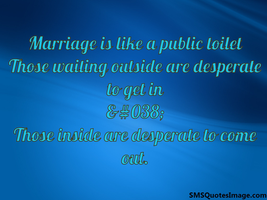 Marriage is like a public toilet