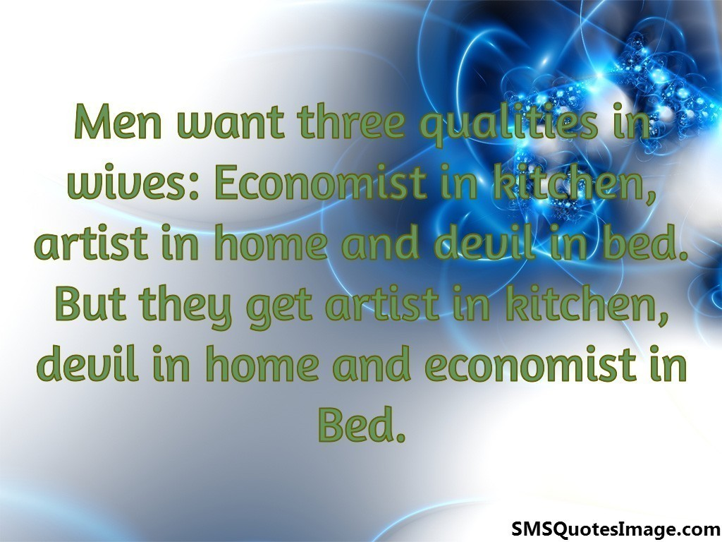 Men want three qualities in wives