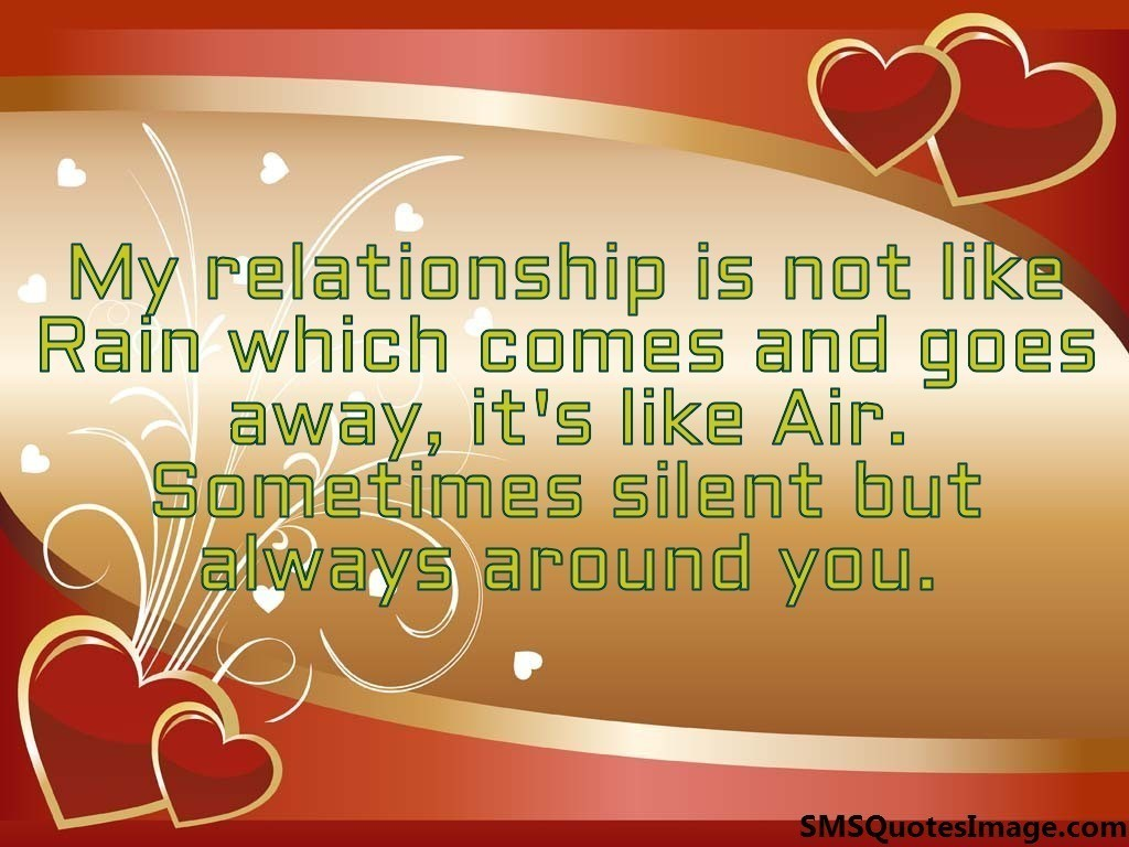 My relationship is not like Rain