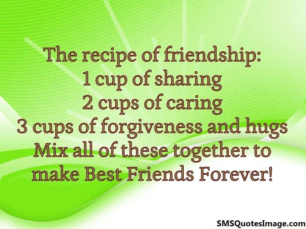 Quotes About Friendship And Forgiveness The Recipe Of Friendship  Friendship  Sms Quotes Image