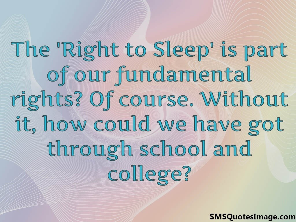 The 'Right to Sleep'