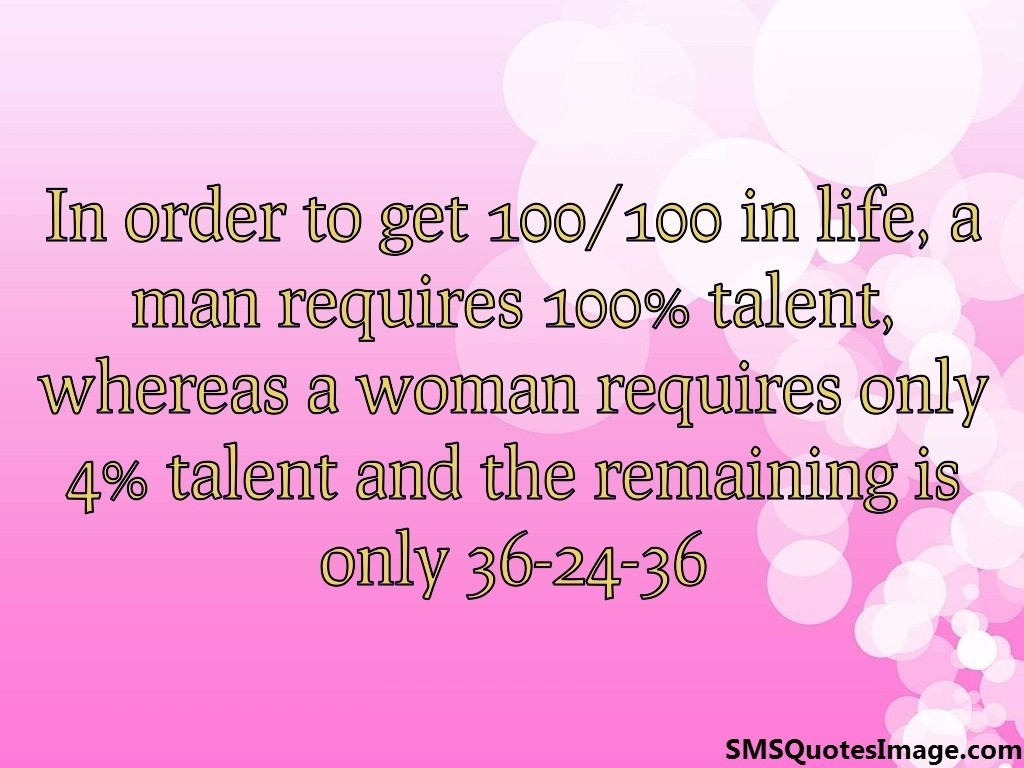 Woman requires only 4% talent